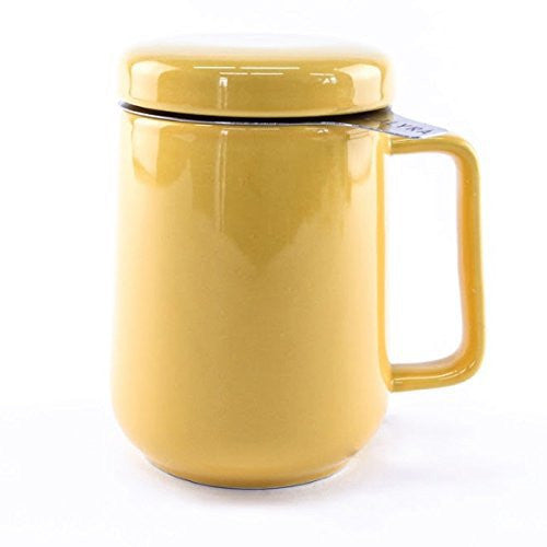 Peak Ceramic Tea Mug w/ Stainless Steel Infuser & Lid - #1 Best Tea Cup Infuser to Brew Loose Leaf Tea - Tealyra - 16oz / 500ml (Yellow)
