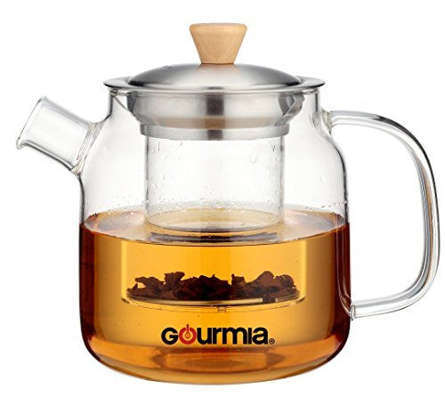 Gourmia GTP9810 Glass Tea Pot & Infuser With Handle, Lid & Loose Tea Filter 680ml Capacity
