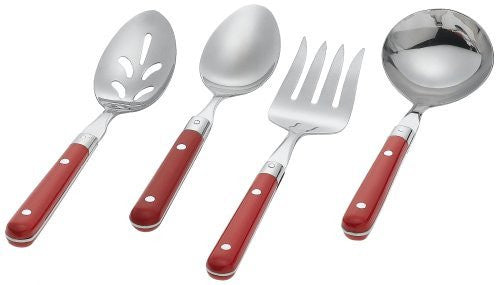 Ginkgo Le Prix 4-Piece Stainless Steel Hostess Serving Set, Milano Red