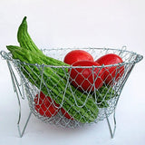 Foldable 12 in 1 Stainless Steel Steam Rinse Strain Fry Chef Basket Strainer Net Kitchen Cooking Tool