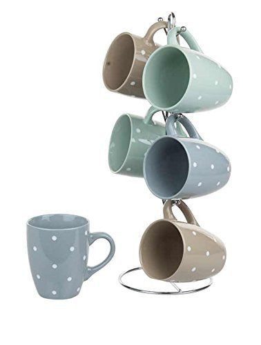 Home Basics 6PC Polka Dot Mug Set W/Stand