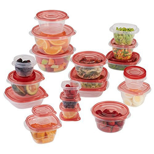 Rubbermaid TakeAlongs Assorted Food Storage Container, 40 Piece Set, Racer Red