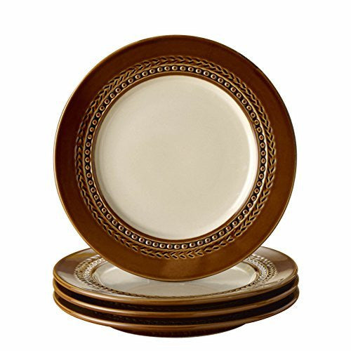 Paula Deen Signature Dinnerware Southern Gathering 4-Piece Salad Plate Set, Chestnut