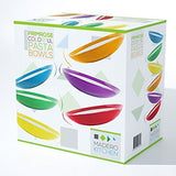 Primrose Colorful Pasta Bowls by Madero Kitchen - Set of 6 PREMIUM Ceramic Pasta Bowls - 9.3 Inches - 100% Secure Packaging - BEAUTIFUL round DESIGN and 6 DIFFERENT COLOURS! ...