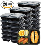 Meal Prep Containers 20 Pack for Food Storage 3 Compartment with Lids,Portion Control Bento Box Lunch Box Set-Reusable,Stackable,Microwave,Dishwasher and Freezer Safe,20 Sporks
