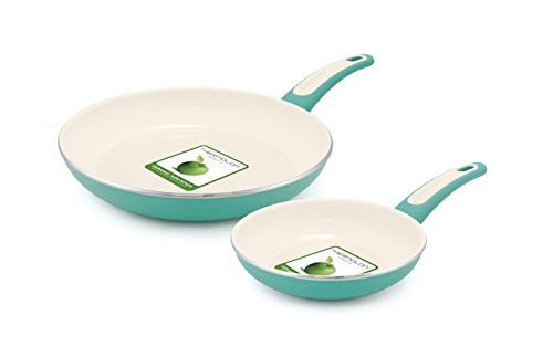 "GreenPan Focus 7"" and 10"" Ceramic Non-Stick Open Frypan Set, Turquoise"