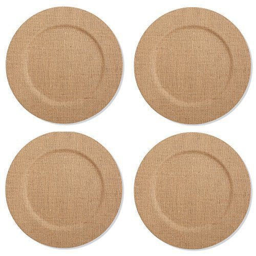 Mud Pie Burlap Covered Dinner Plate Charger (Liner), Set of 4