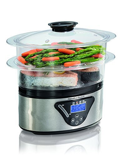Hamilton Beach 5.5 Quart 2-Tier Countertop Digital Steamer, Silver | 37530