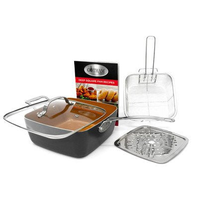 Gotham Steel Titanium Ceramic 9.5 Deep square frying & Cooking Pan With Lid, Frying Basket,Steamer Tray