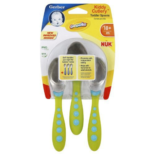 Gerber Graduates Kiddy Cutlery Spoons in Neutral Colors, 3-count