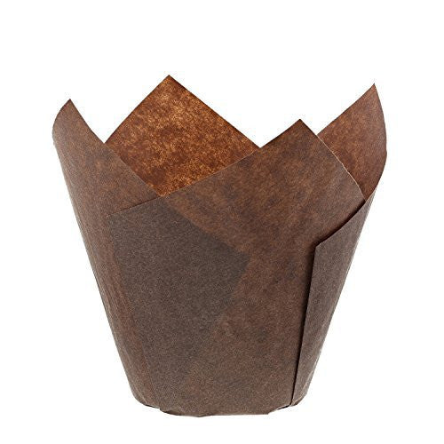 Royal Brown Tulip Style Baking Cups, Small, Sleeve of 200