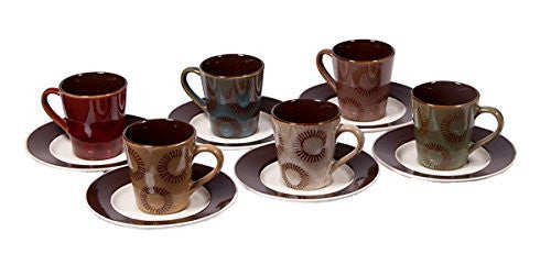 Set of 6 Demitasse Stoneware 2.7 Ounce Espresso Cup and Saucers (Molti Color Reactive Sun)