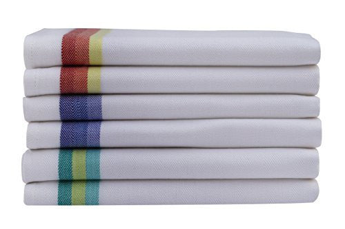 "Kitchen Dish Towels set of 12 - Tea Towels by Harringdons, 100% cotton. LARGE Dish Cloths 28""x20"" soft and absorbent. White with blue, green and red stripes, 4 of each. Add beauty to kitchen life."