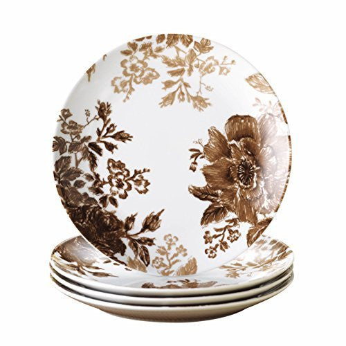 Paula Deen Signature Dinnerware Tatnall Street 4-Piece Salad Plate Set, Coffee Bean