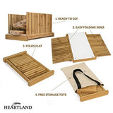 HEARTLAND Bamboo Bread Slicer with Storage Tote Bag