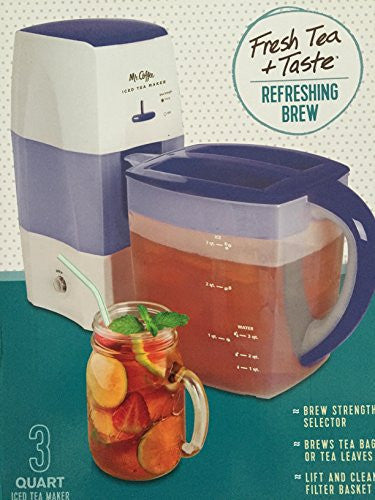 Mr. Coffee Iced Tea Maker 3 Quart with Brew Strength Selector (Blue)