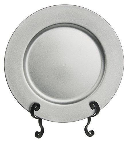 "Fantastic:)™ 24 PCS Round 13""x13"" Colorful Plain Charger Plates with Dusting Finish 24 Pcs/set (Silver)"