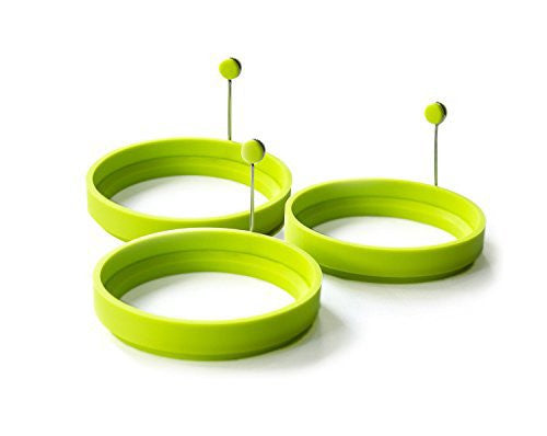 Magic Cuisine 3-Pack Vibrant Green / Neon Green Silicone Egg Ring - Egg Mold - Silicone Pancake Mold