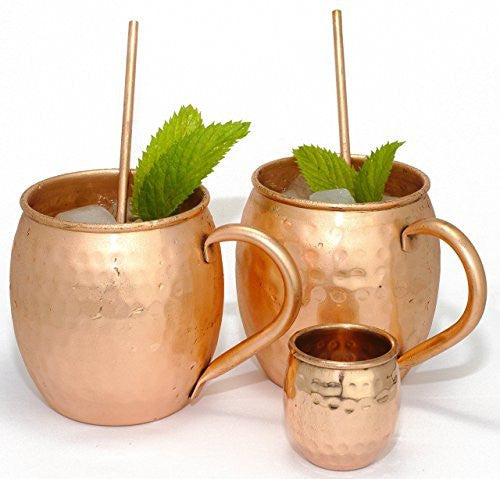 Handcrafted Moscow Mule Mugs 16 oz Gift Set 100% Pure Hammered Copper Mugs With BONUS Shot Glass And Organic Moscow Mule Recipe | Gift Set Includes Set of 2 Mugs, 2 Straws, Shot Glass And Recipe