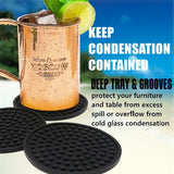 Enkore Coasters Set of 6 in Holder - Protect Furniture From Water Marks & Damage - Good Grip, Deep Tray, Large 4.3 inch Size (Black)