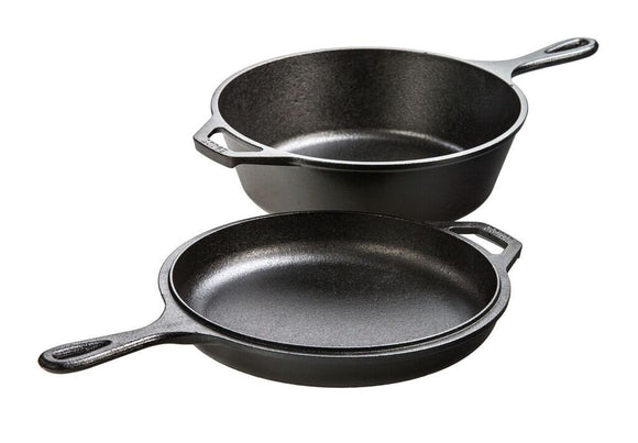 Lodge 3 Quart Cast Iron Combo Cooker. Pre-seasoned Cast Iron Skillet, Fryer, Dutch Oven, and Convertible Skillet/Griddle Lid