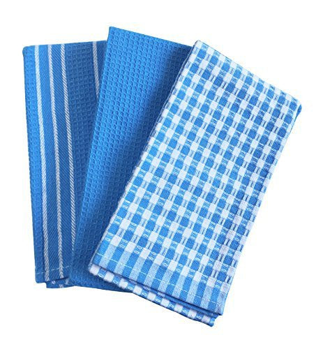 LifEast plaid Kitchen Collection Dish Towels - Set of 3 in one package (1, blue)