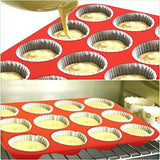 Silicone Large Muffin Pans, SySrion 12 Cup Premium Cupcakes Baking Pan, Non-stick, BPA Free Food Grade Silicone Mold Material - Dishwasher - Heat Resistant Tins up to 450¡ãF - Microwave Safe - Red