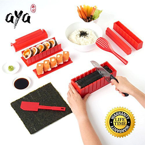 SushiAya 11-Piece DIY Sushi Maker Kit with Online Video Tutorials, Red