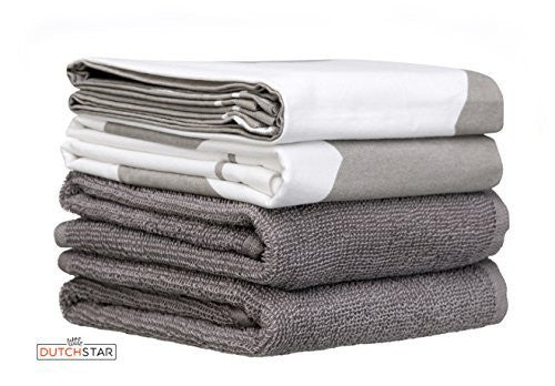 Matching Dish Towels Set Home Style Kitchen Dish and Terry Hand Towels Absorbent Luxury Professional Grade Sturdy White Gray Design Kitchen Tea Towels Set