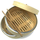 NEW! AMAZINGLY DURABLE Bamboo Steamer/Lightweight Food Steamer/Steamer Basket Bamboo Fits Perfectly on Standard Size Pots/Excellent Asian Food Steamer/Free Tong Included