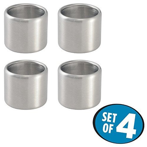 mDesign Napkin Rings for Home, Kitchen, Dining Room - Set of 4, Brushed Stainless Steel