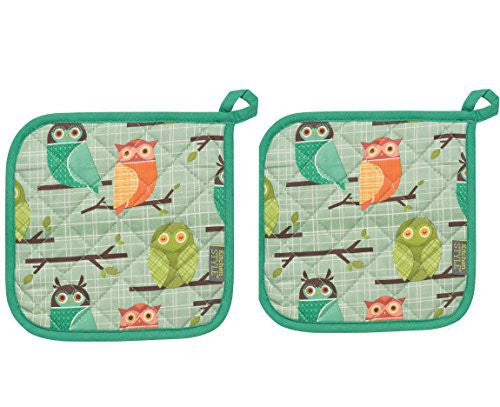 Kitchen Style by Now Designs Basic Pot Holders, Set of Two, Owls