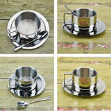 LUOYIMAN Coffee Cup Set Stainless Steel Coffee Cup with Coffee Saucer Coffee Spoon
