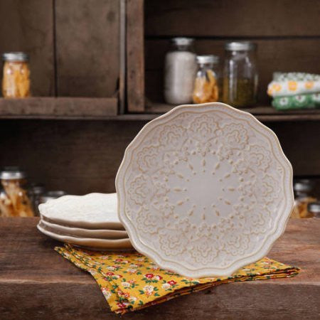 The Pioneer Woman Farmhouse Lace (Salad Plate Set, 4-Pack)