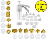JJMG NEW Comfort Grip Stylish Cookie Press Kit Cake Cookies Making Decorating Gun - 12 Discs and 6 Icing tips