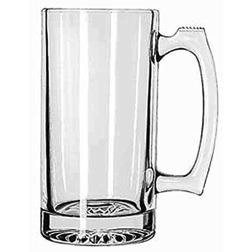 "LARGE 7"" TALL X 3.5"" WIDE GLASS STEIN / MUG, 2.5 POUND, HEAVY-DUTY 28 OUNCE THICK CLEAR GLASS HOT/COLD DRINKING STEIN MUG CUP TUMBLER. USE FOR BEVERAGES LIKE COFFEE, TEA, BEER, WATER, SODA, ETC."