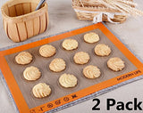 Modern Life Non Stick Silicone Baking Mat for Cookies 2 Pack Extra Thick Half Sheet Silicone Bakeware Set BPA Free and FDA Approved