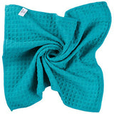 Microfiber Thick Waffle Weave Kitchen Towels Dish Cloth 3 Pack 16inch X 19inch Aqua
