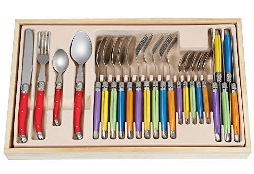 FlyingColors Laguiole Stainless Steel Flatware Set. MultiColor Handle, Wooden Gift Box, 24 Pieces