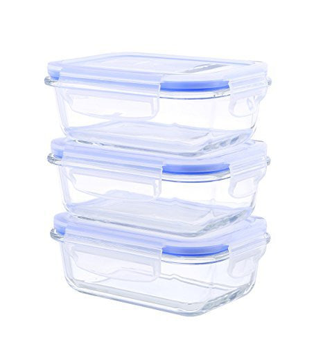 Kinetic Go Green Glass Works Elements 6-Piece Rectangular Food Storage Container Set includes 3 Containers and 3 Vented Lids 55093
