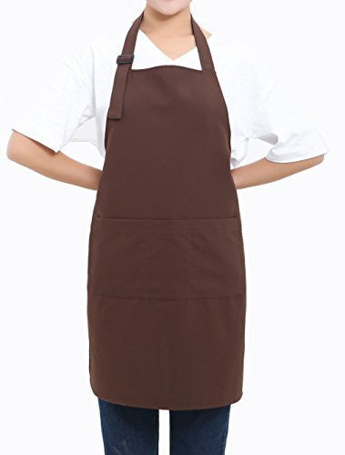 SEW UR LIFE Adjustable COLD Waterproof Brown Bib Apron with 3 Pockets, Durable, Easy Care, Suitable for Home Kitchen Garden and Restaurant, Unisex