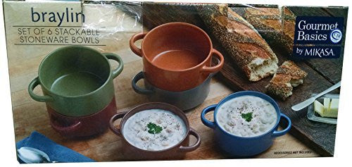 Stackable Stoneware Bowls Gourmet Basics by Mikasa, Set of 6