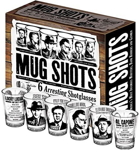Mug Shots - 6 Piece Shot Glass Set of Famous Gangster Mugshots Comes in a Colorful Gift Box - by The Unemployed Philosophers Guild