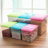 Katherine 3X Air Sealed Grain Food Storage Jar Plastic Clear Kitchen Storage Container with Lid M