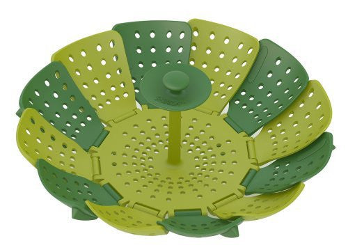Joseph Joseph 40023 Lotus Steamer Basket Folding Non-Scratch for Steaming Vegetable Silicone Feet, Green