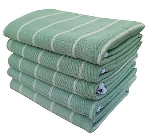 "Gryeer Kitchen Dish Towels, 5 Pack - Bamboo and Microfiber with Classic Stripe Design -16"" x 20"" - Great for Cooking in Kitchen, Household Cleaning, Bathroom and Garage"