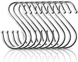 Pro Chef Kitchen Tools Premium Round S Shaped Hooks in 10 Pack Polished Stainless Steel Metal