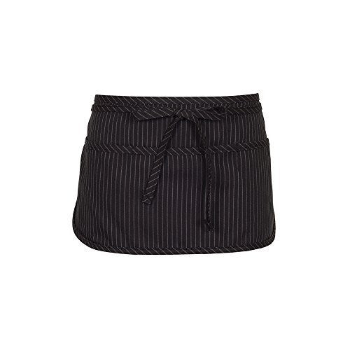 Fame Adult's 3 Pocket Round Bottom Waist Apron - O/S - Black Pinstripe
