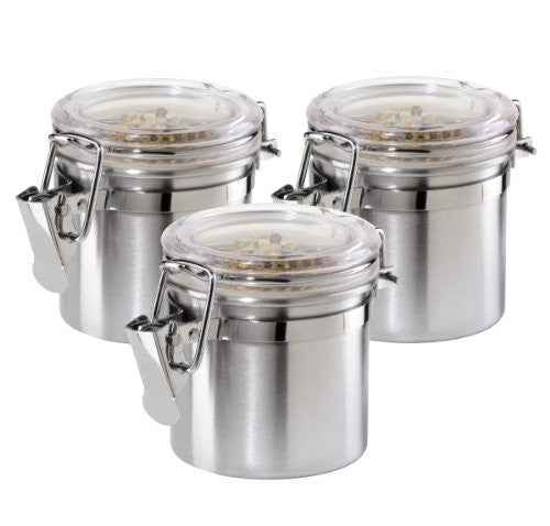 Oggi 5301 3-Piece Mini Stainless Steel Canister Set with Airtight Acylic Lid and Clamp-Food Storage Container