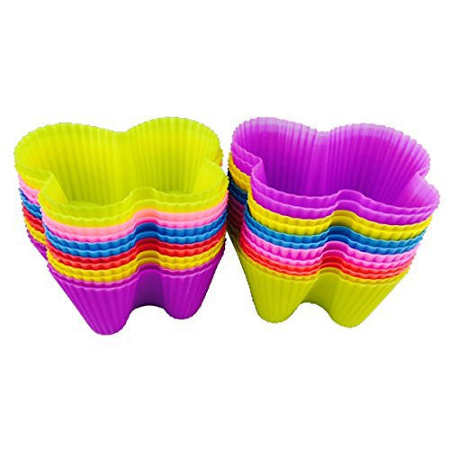 Hippih Silicone Baking Cup Reusable Cupcake Liners,Food Grade Muffin Cups(Butterfly molds,Pack of 24)